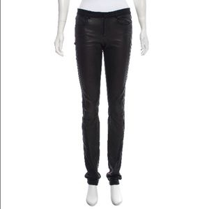 Helmut Lang Mid Rise Leather Insert Jeans